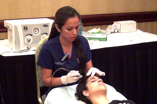 Instructor demonstration of various microdermabrasion techniques