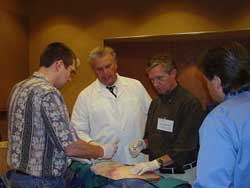 Instructor reviewing Sympathetic Nerve Block Procedure during Hands-On Session