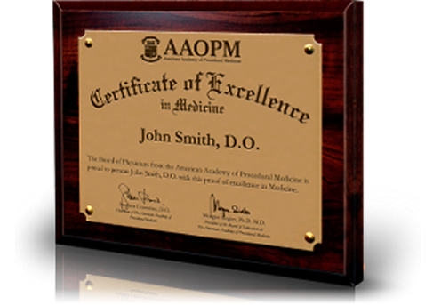 Example of Board-Certification Wall Plaque