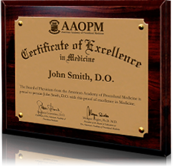 Picture of AAOPM Board-Certification Plaque